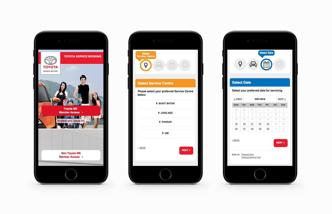 Toyota Service Booking Mobile Layouts