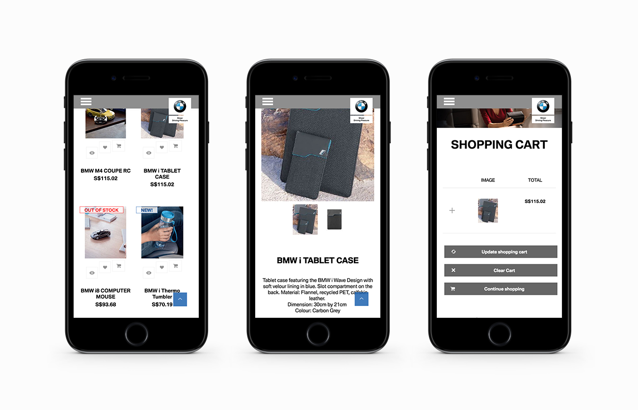 PML Online Shop Mobile Layouts