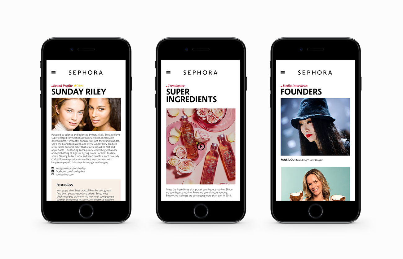 Sephora Mobile Layouts