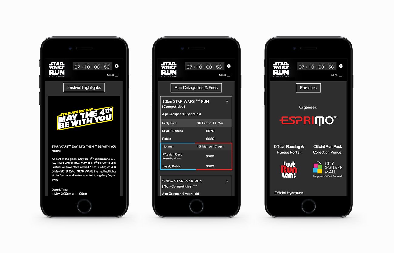 STAR WARS RUN Mobile Layouts