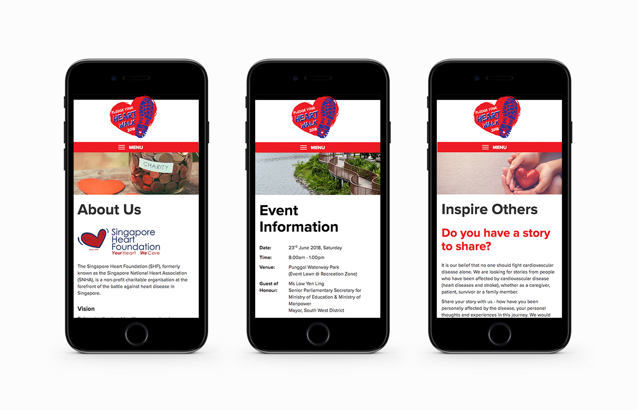 Pledge Your Heart Walk Mobile Layouts