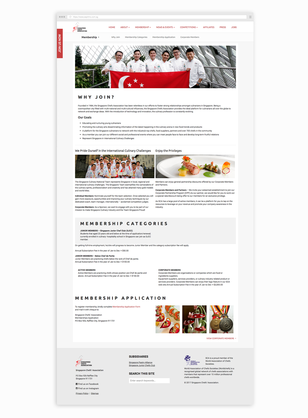 Singapore Chefs Association Membership